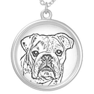 Englische Bulldoggen-Halskette Halskette Mit Rundem Anhänger