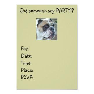 Englische Bulldoggen-Party Einladungen irgendeine 12,7 X 17,8 Cm Einladungskarte
