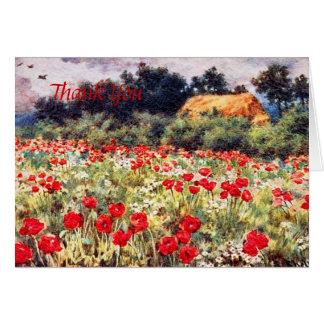 Englische Hütte mit Mohnblumen danken Ihnen zu Karte
