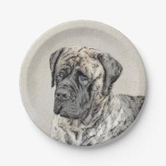 Englische Mastiff-(Brindle) Malerei - Pappteller