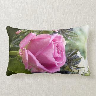 Englische rosa Rose nah oben im Garten Lendenkissen