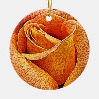 Englische RosenmakroblumenBlume nahe hohe Keramik Ornament