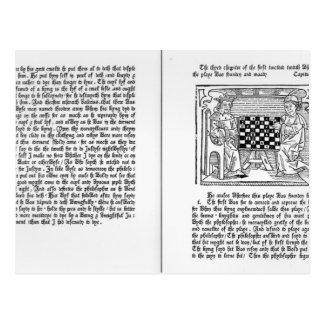 Englische Übersetzung von 'De Ludo Saccorum' Postkarte