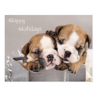 Englischer Bulldoggenwelpe und -geschenke Postkarte