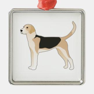 Englischer Foxhound-Hundezucht-Illustration Quadratisches Silberfarbenes Ornament