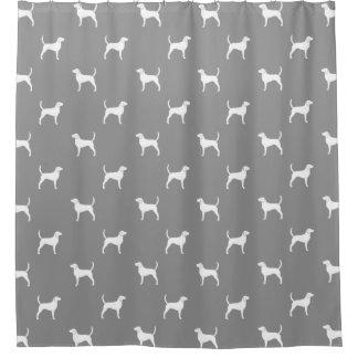Englischer Foxhound-Silhouette-Muster-Grau Duschvorhang