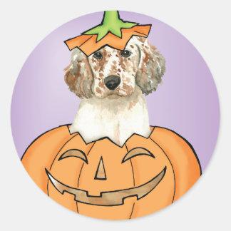 Englischer Setzer Halloweens Runder Aufkleber