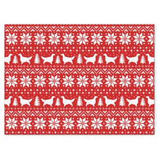 Englischer Setzer-Silhouette-Weihnachtsmuster-Rot Seidenpapier