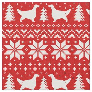 Englischer Setzer-Silhouette-Weihnachtsmuster-Rot Stoff
