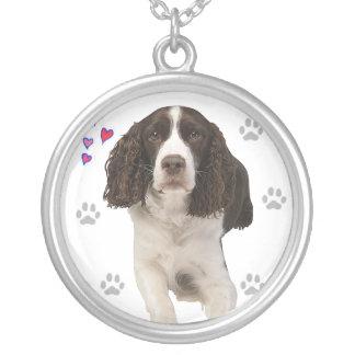 Englischer Springerspaniel-Hund Versilberte Kette
