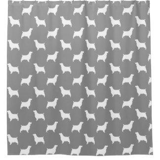 Englischer Springerspaniel-Silhouette-Muster-Grau Duschvorhang