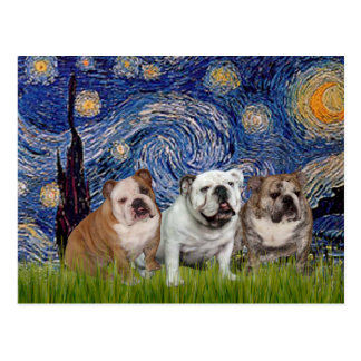 Englisches Bulldoggen-Trio - sternenklare Nacht Postkarte