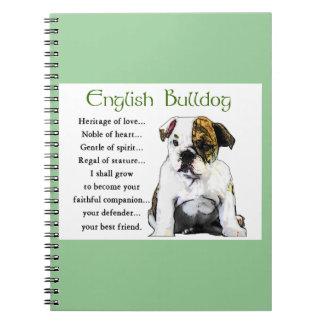 Englisches Bulldoggen-Welpen-Erbe der Liebe Notizblock