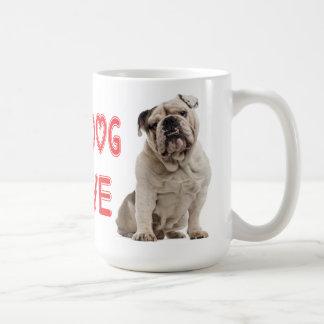 Englisches Bulldoggen-Welpen-Hunderotes Liebe-Herz Kaffeetasse