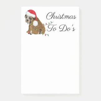 Englisches Bulldoggen-Welpen-Weihnachten Post-it Klebezettel