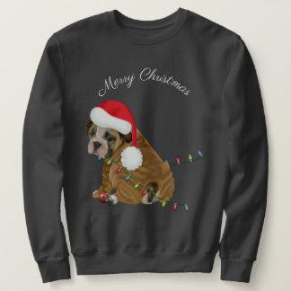 Englisches Bulldoggen-Welpen-Weihnachten Sweatshirt