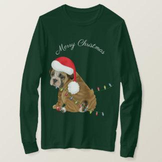 Englisches Bulldoggen-Welpen-Weihnachten T-Shirt