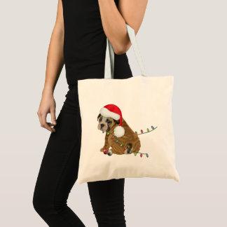 Englisches Bulldoggen-Welpen-Weihnachten Tragetasche