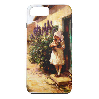 Englisches Dorf-Mädchen und Katze iPhone 8 Plus/7 Plus Hülle