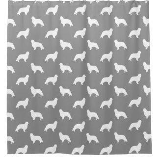 Englisches Spielzeugspaniel-Silhouette-Muster-Grau Duschvorhang