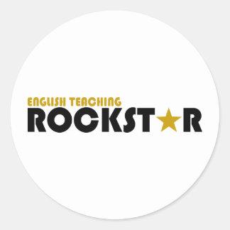 Englisches unterrichtendes Rockstar Runder Sticker
