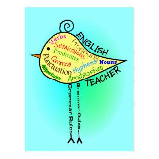 """Englischlehrer-""""Grammatik-Vogel-"""" Geschenke Postkarten"""