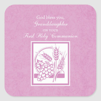 Enkelin-erste Kommunion, rosa Quadratischer Aufkleber