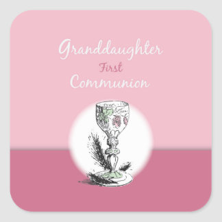 Enkelin-erstes Kommunions-Rosa, Chalice Quadratischer Aufkleber