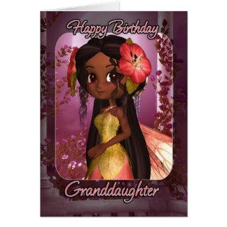 Enkelin-Geburtstags-Karte - niedliche rosa Fee Karte