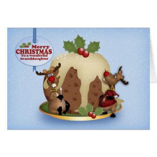 Enkelin-Ren-und Pudding-Weihnachtskarte Karte