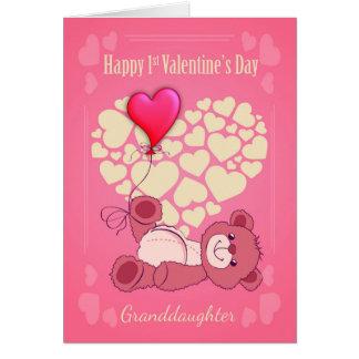 Enkelin, zuerst 1. Valentinstag mit Tedd Karte