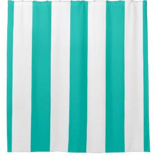 Enormer aquamariner weißer vertikaler Streifen NL Duschvorhang