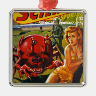 Enormes rotes Hundeinsekt Quadratisches Silberfarbenes Ornament