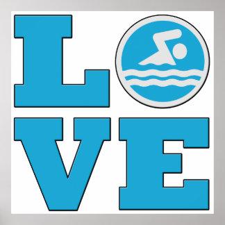 Enormes Swim-Liebe-Plakat für Schwimmer oder Poster