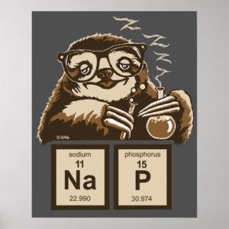 Entdecktes Nickerchen der Chemie Sloth Poster