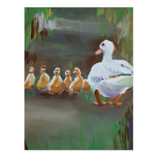 Ente mit Entlein Postkarte