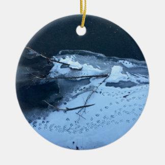 Enten-Bahnen im Schnee Keramik Ornament