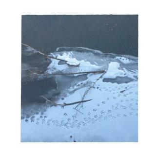 Enten-Bahnen im Schnee Notizblock
