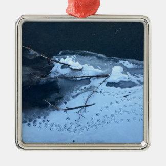 Enten-Bahnen im Schnee Silbernes Ornament
