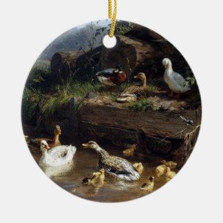 Enten-Entlein-Vogel-Teich-Weihnachtsverzierung Keramik Ornament