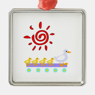 Enten-Familie Silbernes Ornament