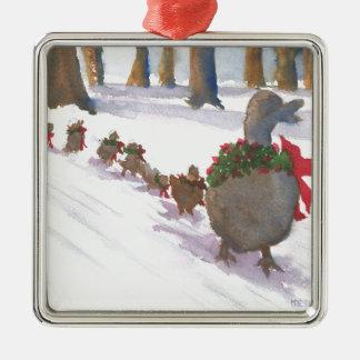 Enten in Boston allgemein während der Quadratisches Silberfarbenes Ornament
