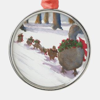 Enten in Boston allgemein während der Rundes Silberfarbenes Ornament