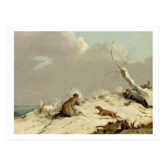 Enten-Schießen im Winter (Öl auf Leinwand) Postkarte