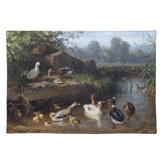 Enten-Vogel-Tier-Tier-Teich-Tischset Stofftischset