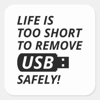Entfernen Sie USB sicher Quadratischer Aufkleber