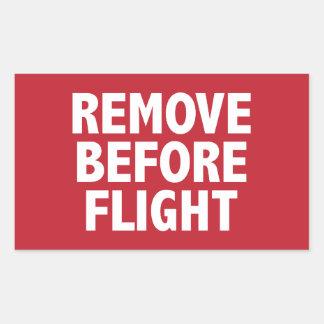 Entfernen Sie vor Flug Rechteckiger Aufkleber