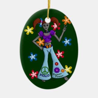 Entfremdung: Hippie-Küken-Verzierungs-Oval Keramik Ornament