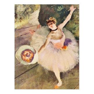 Entgasen Sie Ballerina mit Blumenstrauß der Blumen Postkarte