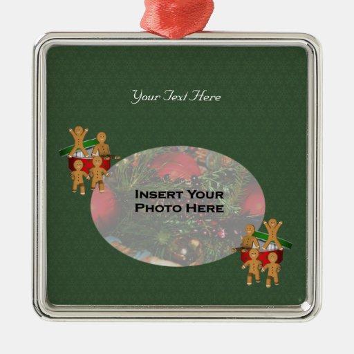 Entgehende Lebkuchen-Mann-Feiertags-Foto-Verzierun Weinachtsornamente